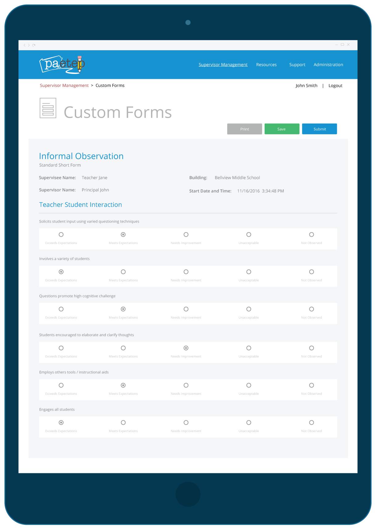 Edulink PA-ETEP Custom Forms Interface