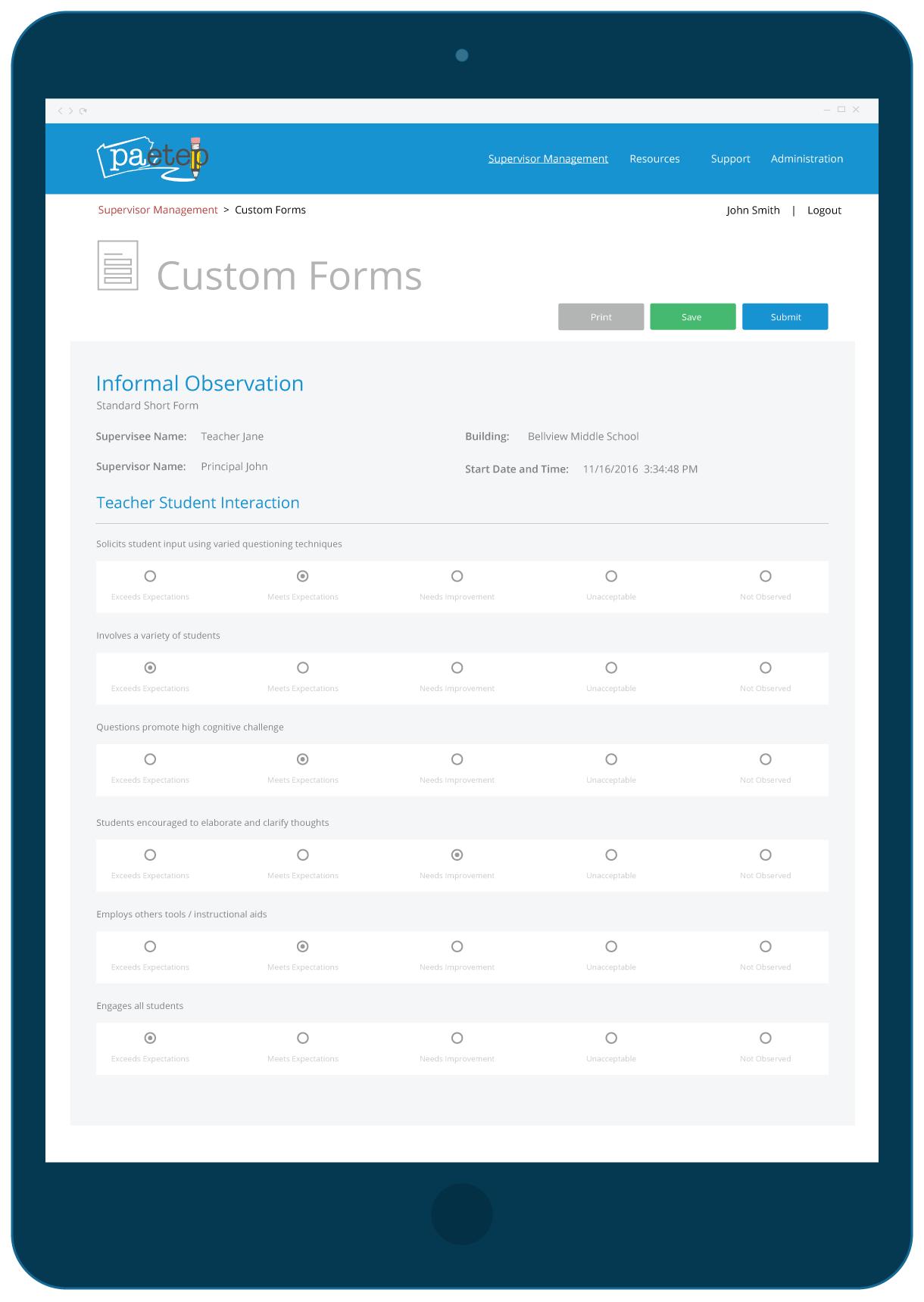 Edulink PA-ETEP Informal Observation Form Interface